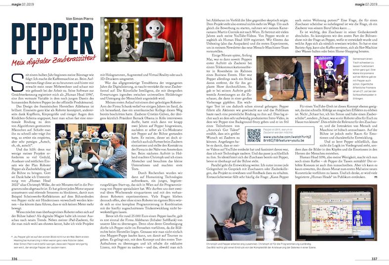 Die Zeitschrift Magie berichtet über den Digitalen Magier Simon Pierro und seinen magischen Zauberlehrling Roboter Pepper
