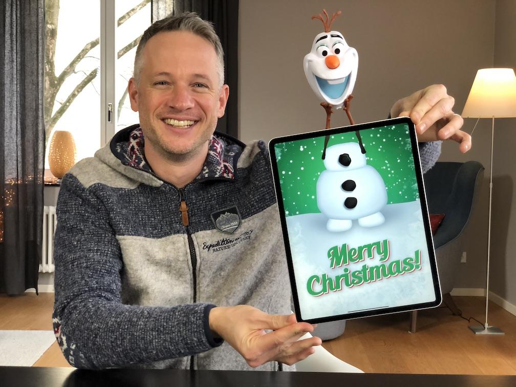 "Fan Art mit Olaf aus dem Disney Film ""Die Eiskönigin"" mit iPad Zauberer Simon Pierro"